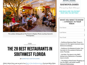 Gulfshore Life - Angelina's Ristorante Voted one of the 28 Best Restaurants in Southwest Florida