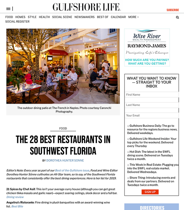 best restaurants in florida 2019 Gulfshore Life   Angelina's Ristorante Voted one of the 28 Best