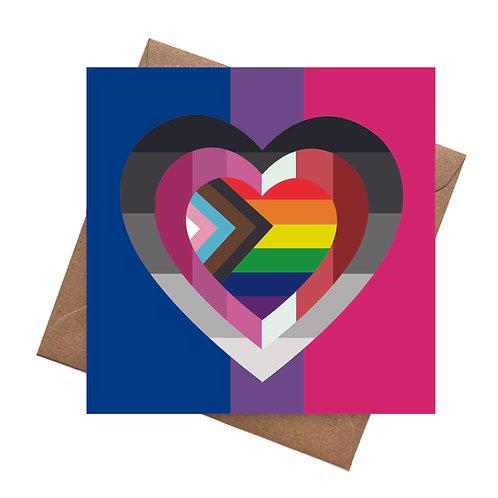 LGBTQ Pride Flags Heart   Blank   Birthday Greeting Card