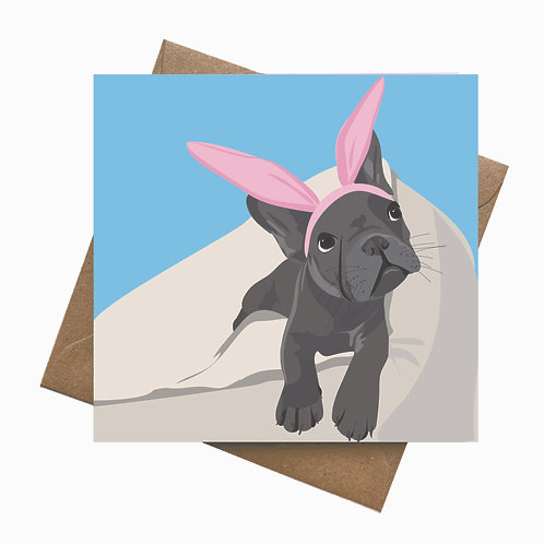 French Bulldog Puppy in Bunny Ears | Spring | Easter | Birthday Greeting Card