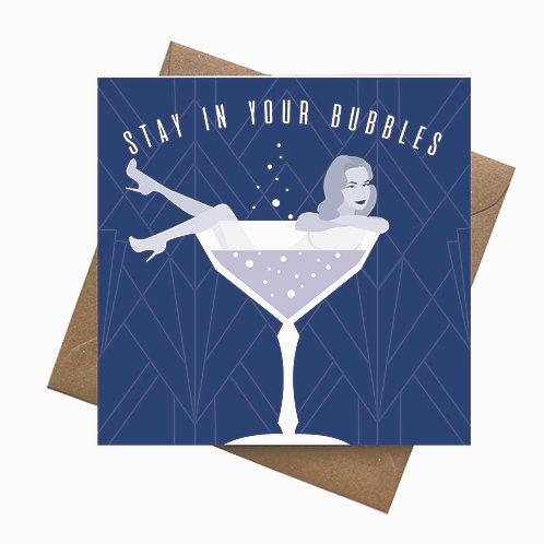 Stay in your Bubbles Greeting Card Lockdown Funny