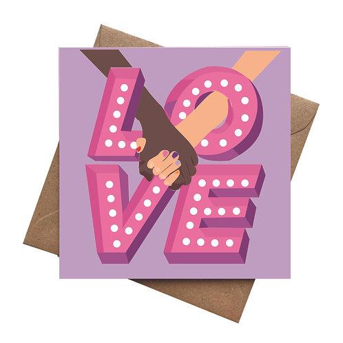 Love Holding Hands Valentines | Galentines | Birthday Greeting Card