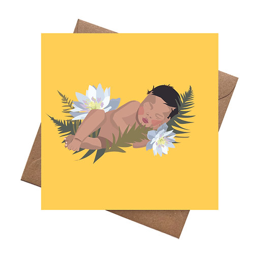 Sleeping Leaves New Baby   Baby Shower   Congratulations   Christening Greeting
