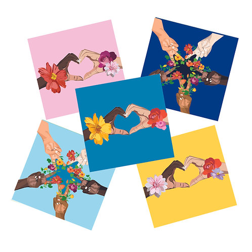 Diverse Heart and Star Hands 5 pack cards
