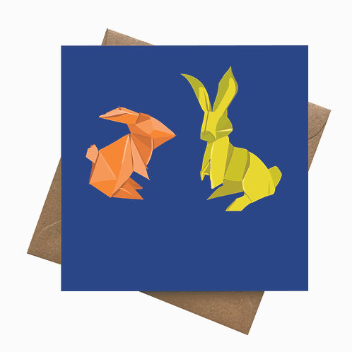 Origami Rabbits   Birthday   Easter   Greeting Card