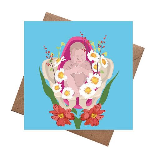 Floral Birth NewBaby Card