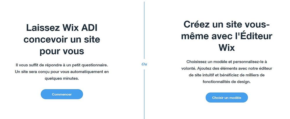 Wix adi ou Editeur Wix