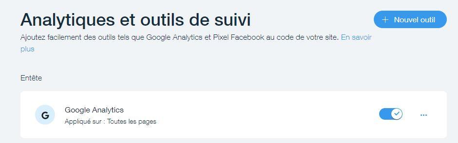 Balise Google Analytics avec implémentation Wix