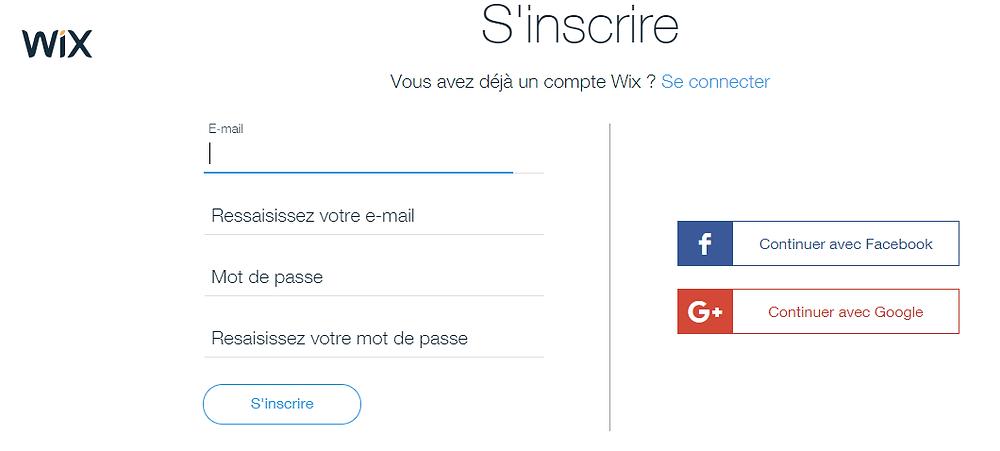 Inscription pour débuter avec Wix