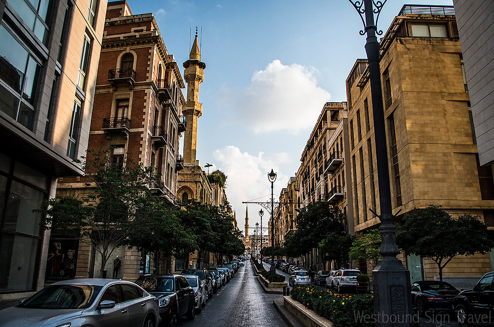 Downtown Beirut streets and Al Amin Mosque