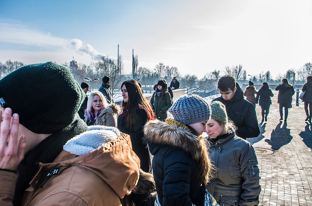 Green Day fans queuing at the Tauron Arena in Krakow, Poland