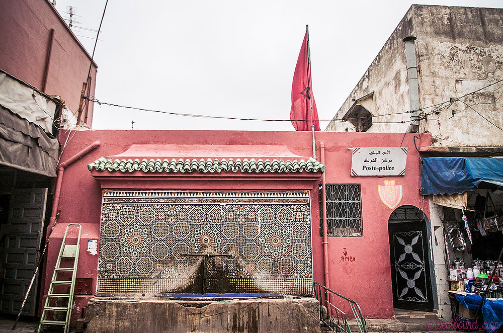 Pink police station in Sale Medina, Morocco