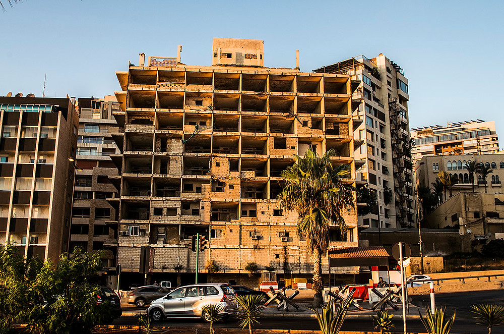 Civil War damage in Beirut, Lebanon
