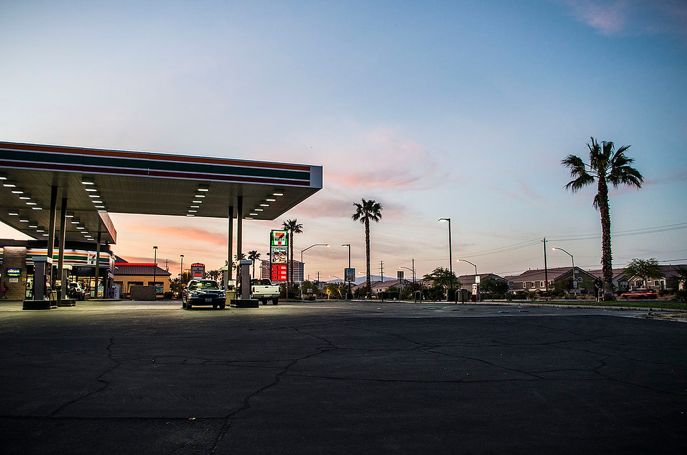Las Vegas gas station sunset