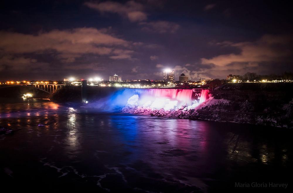 Niagara Falls American flag illuminations