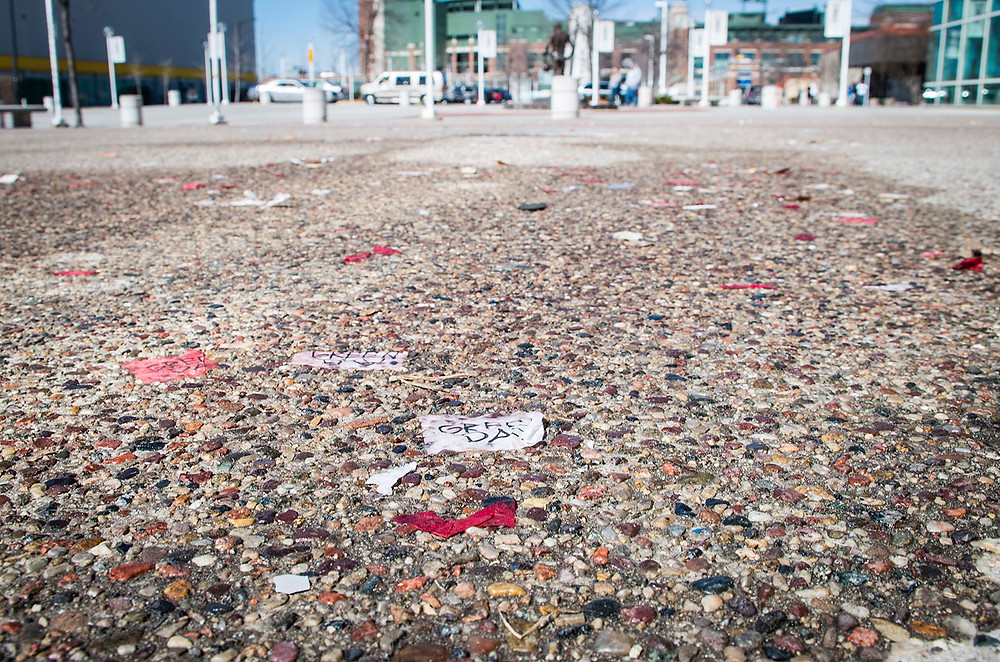 Green Day Revolution Radio confetti outside Lambeau Field