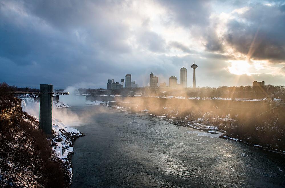 Niagara Falls sunset from Rainbow Bridge in winter