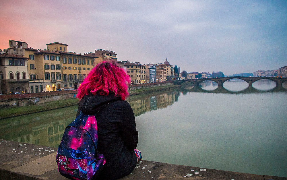 Looking out over the River Arno in Florence, Italy