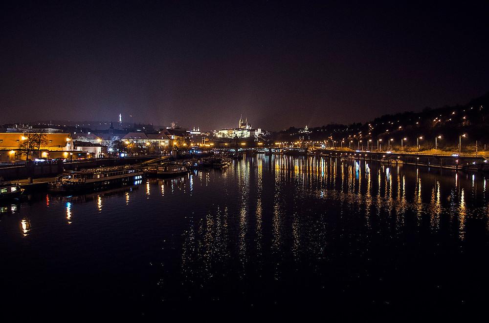 Prague river at night