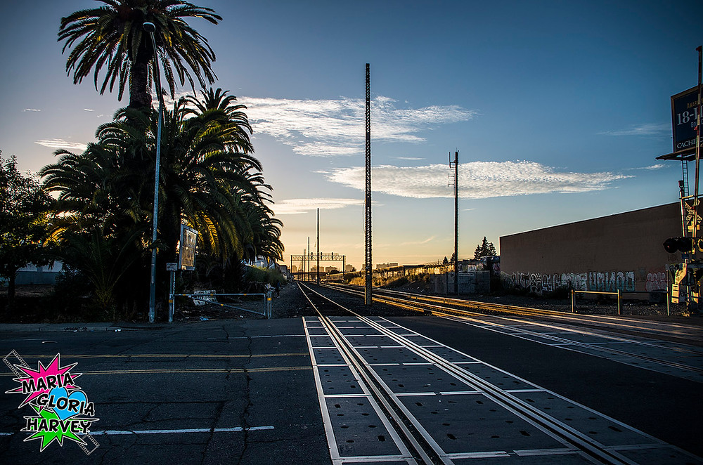 Sunset train tracks in Jingletown
