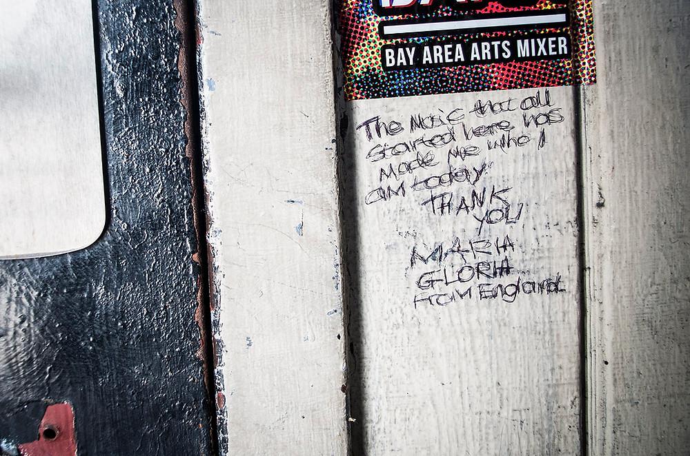 Fan graffiti at 924 Gilman Street, Berkeley