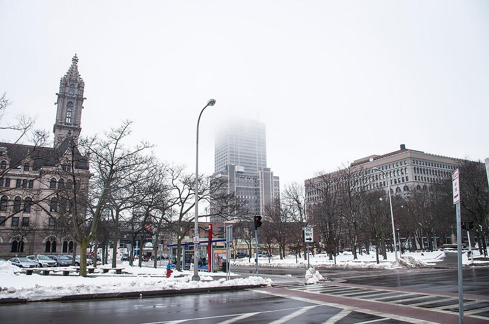 Winter and fog in Buffalo NY