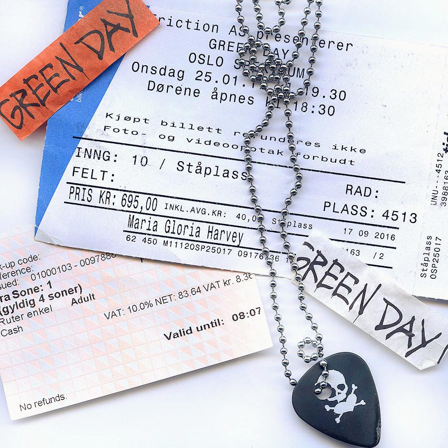 Green Day Revolution Radio Oslo tickets and guitar pick