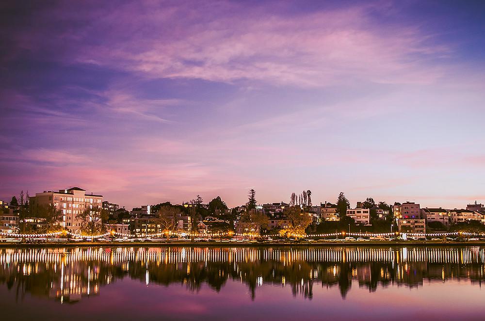 Sunset over Lake Merritt, Oakland