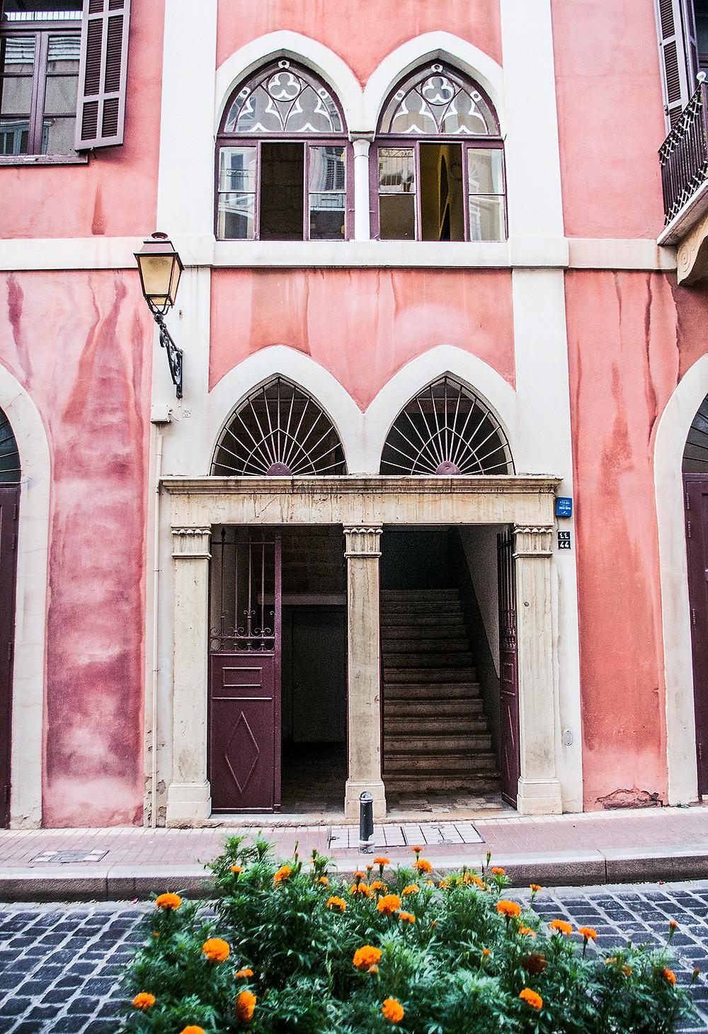 Pink building in Saifi Village, Beirut