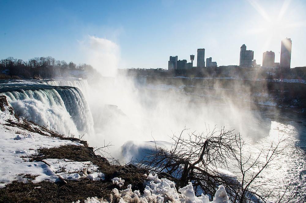 Mist over Niagara Falls in winter