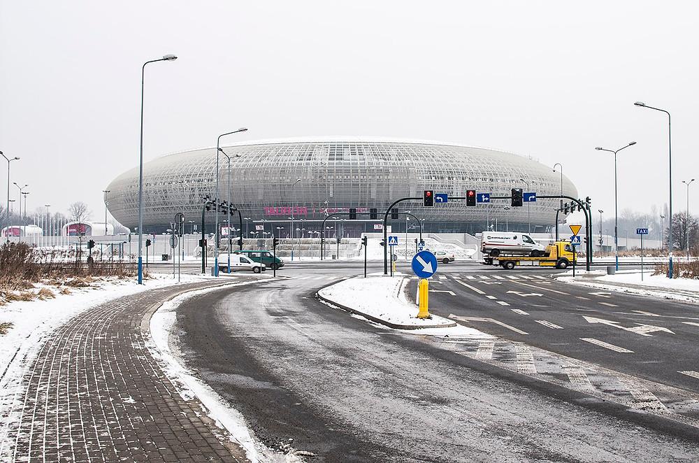 Tauron Arena Krakow in the snow
