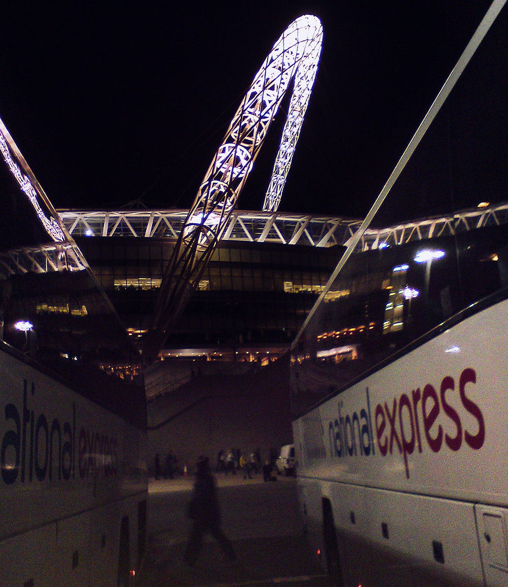 National Express buses after Green Day at Wembley Stadium