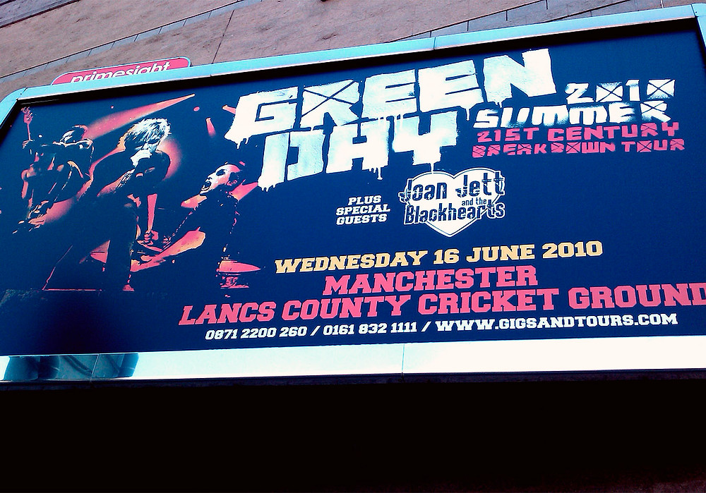 Green Day billboard at Manchester Arena