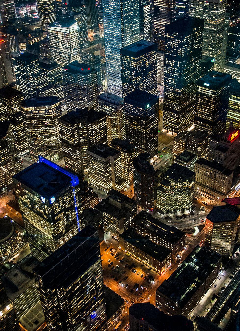 Toronto skyline night view from CN Tower