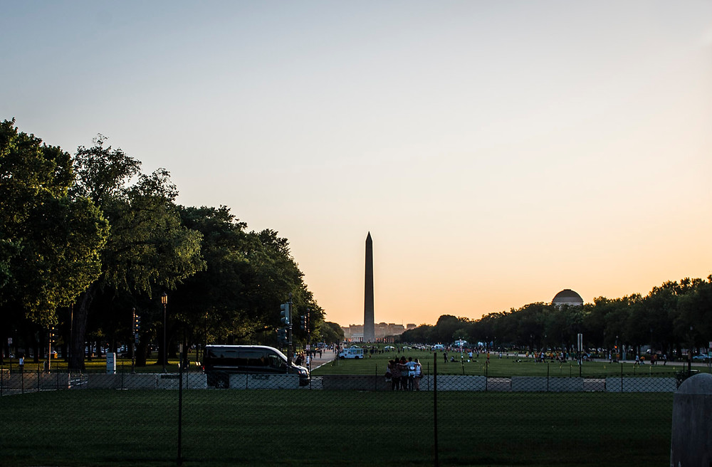 Sunset over Washington Memorial DC
