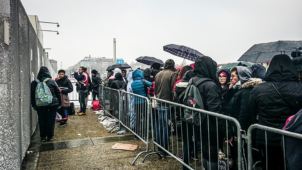 Fans camping out to see Green Day in Turin, Italy