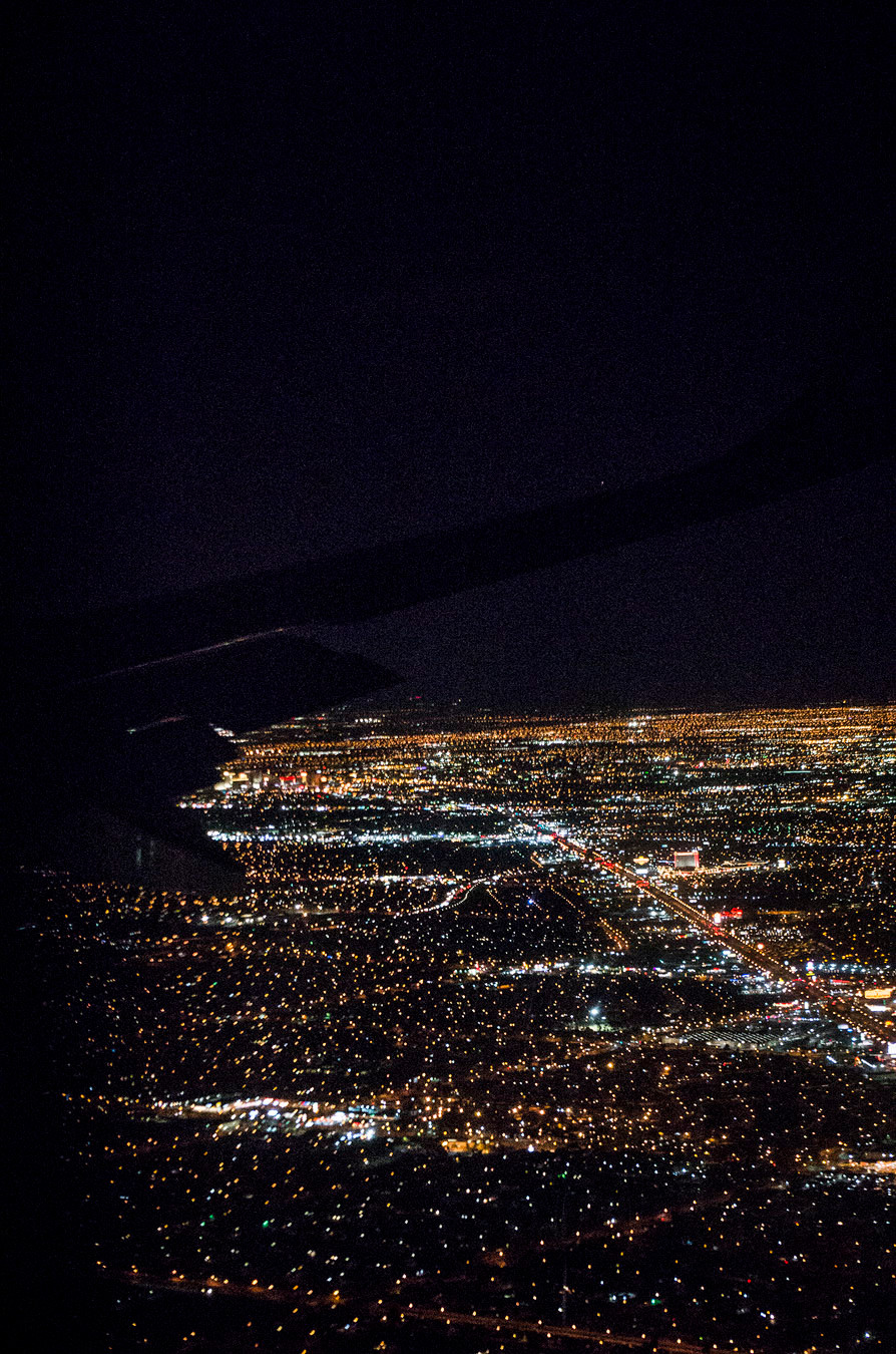 Las Vegas strip from plane window
