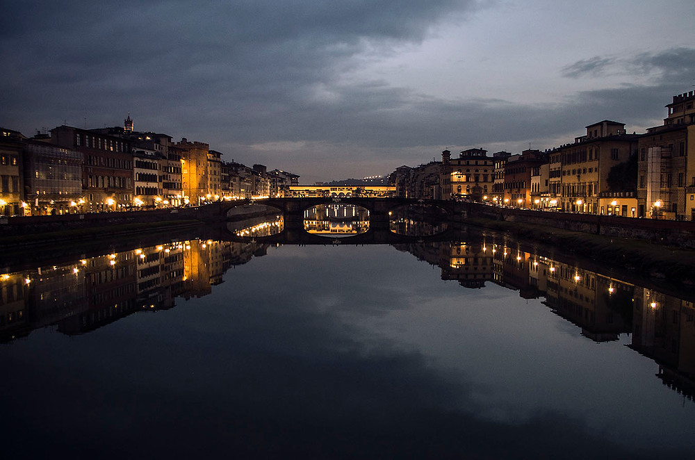 Ponte Vecchio in Florence, Italy at night