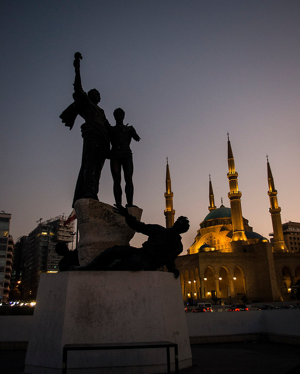 Sunset at Martyrs' Square, Beirut