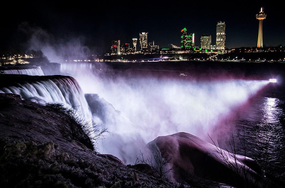 Winter Niagara Falls illuminations at night