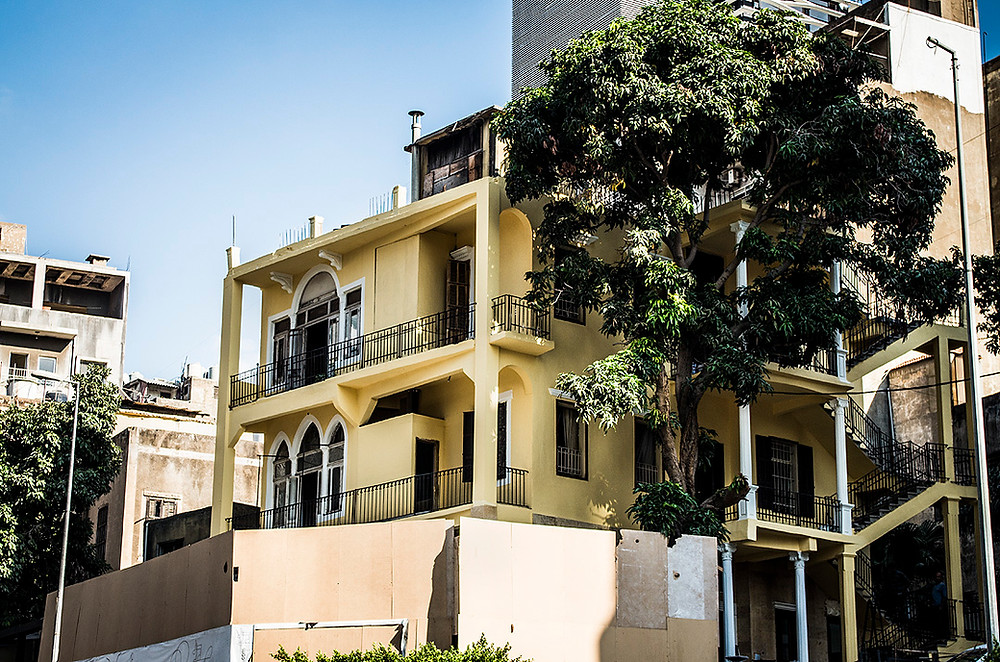 Yellow building in Acrafieh, Beirut