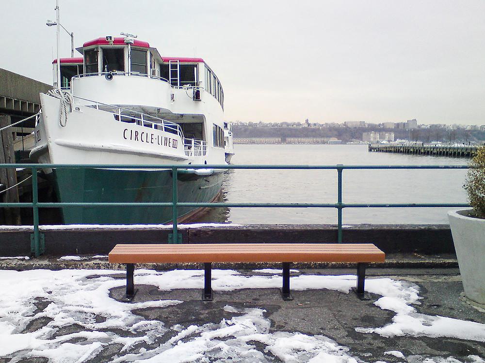 Hudson cruise ship in snowy New York