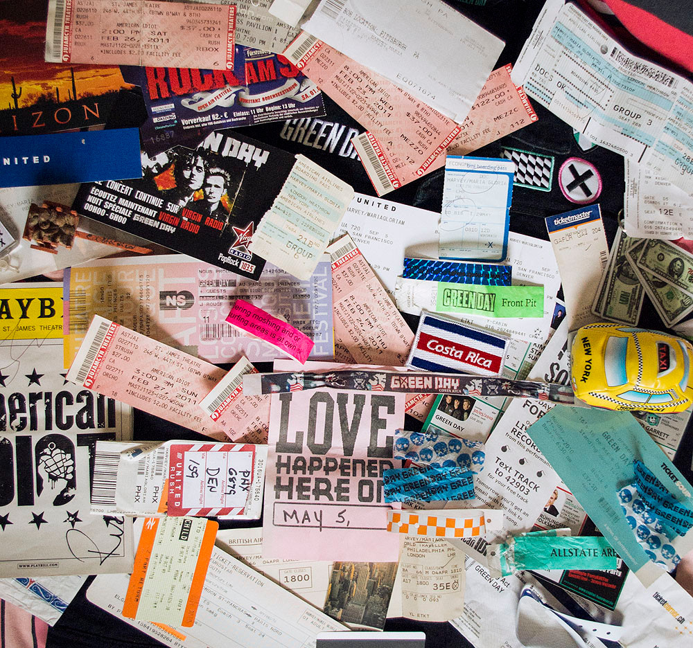 Green Day tickets and souvenirs from the 21st Century Breakdown & 99 Revolutions tours