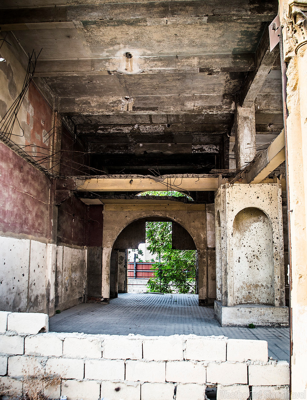 Ruined L'Orient Le Jour building at Beirut Souks
