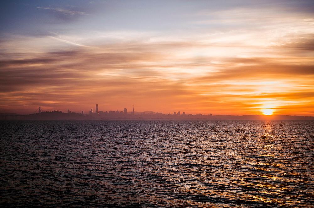Sunset and San Francisco skyline from Berkeley Marina