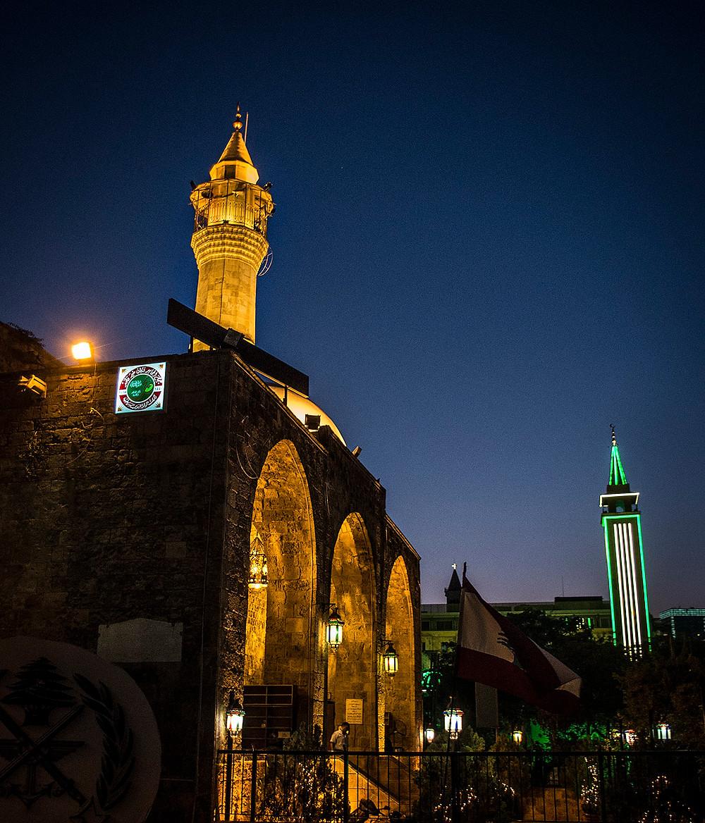 Mansour Assaf Mosque at night