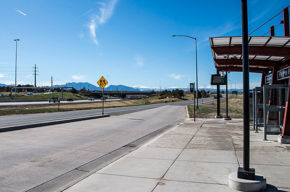 Broomfield, CO bus stop mountains