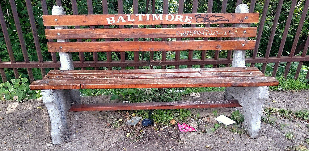 Baltimore bench outside the Ottobar