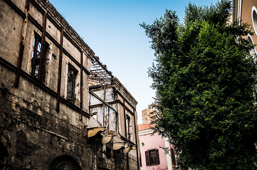 Damaged building in Saifi Village, Beirut