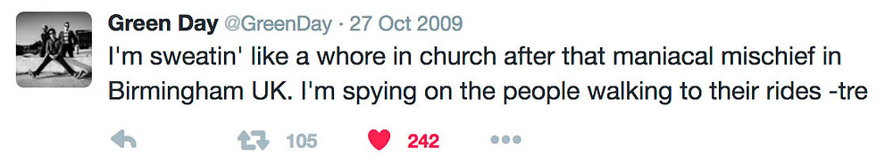 Tré Cool tweet about Green Day's Birmingham 2009 show